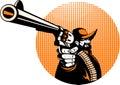 Cowboy aiming a pistol gun Royalty Free Stock Photo