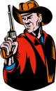 Cowboy aiming pistol gun Royalty Free Stock Images