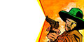 Cowboy banner comic book style illustration of a with gun and blanked space for text Stock Photography