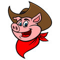 Cowboy BBQ Pig Royalty Free Stock Photo