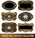 Cowboy belt buckle vector collection set design Royalty Free Stock Photo