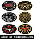 Cowboy belt buckle vector master collection set design Royalty Free Stock Photo