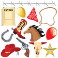 Cowboy birthday party clip art Stock Images