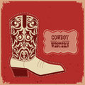 Cowboy boot card background.Vector  western illustration with te Royalty Free Stock Photo