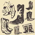 Cowboy boot collection Royaltyfri Bild