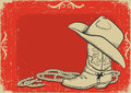 Cowboy boot and hat for design Royalty Free Stock Photo