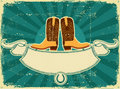 Cowboy boots card on old paper .Vintage background Royalty Free Stock Photography