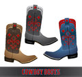 Cowboy boots detailled illustration vector set eps Royalty Free Stock Image
