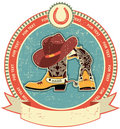 Cowboy boots and hat label Stock Photos