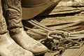 Cowboy Boots, Hat, Rope & Bits (Sepia) Royalty Free Stock Photo