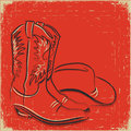 Cowboy boots and western hat .Sketch illustration  Stock Images