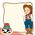 Cowboy child birthday background with cake happy in western traditional clothes and holiday vector for text Stock Photography