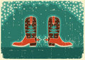 Cowboy christmas card with boots Royalty Free Stock Photography