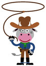 Cowboy cow a humorous illustration of a dressed like a Royalty Free Stock Images