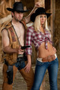 Cowboy with cowgirl Royalty Free Stock Photo