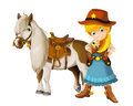 Cowboy cowgirl wild west illustration for the children happy and colorful Stock Photo