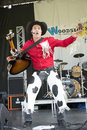 Cowboy dancer dan coboy on stage during woodstock family event the july at ste julie quebec canada Stock Image