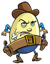 Cowboy egg humorous cartoon illustration of a with a stetson and fierce expression standing ready to draw his guns isolated on Royalty Free Stock Photography