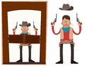 Cowboy entering saloon carrying pistols in his both hands Stock Photos