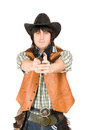 Cowboy with a gun in hands Royalty Free Stock Photo