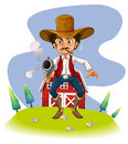A cowboy with a gun illustration of on white background Royalty Free Stock Photography