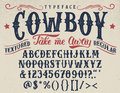 Cowboy handcrafted retro textured typeface Royalty Free Stock Photo
