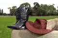 Cowboy hat and boots Royalty Free Stock Photo