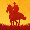 Cowboy on a horse abstract illustration of Royalty Free Stock Photos
