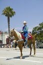 Cowboy on horse during opening day parade down State Street, Santa Barbara, CA, Old Spanish Days Fiesta, August 3-7, 2005 Royalty Free Stock Photo