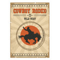 Cowboy horse rodeo poster.Western vintage illustration with text