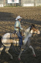 Cowboy on horse with rope Royalty Free Stock Photography