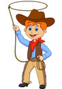 Cowboy kid cartoon twirling a lasso illustration of Stock Photos