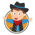 Cowboy kid logo cartoon isolated on white background Royalty Free Stock Photography