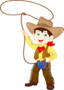 Cowboy kid twirling a lasso vector illustration of Stock Image