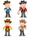 Cowboy kids collection set of four cartoon boys and girls isolated on white background Stock Photos