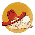 Cowboy little baby with big western sheriff hat vector funny illustration Royalty Free Stock Image