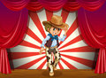 A cowboy in the middle of the stage illustration Stock Photography