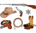 Cowboy objects set various vintage western Royalty Free Stock Images