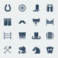 Cowboy pictograms vector wild west icons western in flat style design isolated on white Stock Images