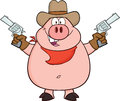 Cowboy pig cartoon character holding up two revolvers illustration isolated on white Royalty Free Stock Images