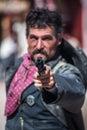 Cowboy points gun Stock Foto