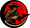 Cowboy Profile Aiming Guns Mascot Illustration Royalty Free Stock Image