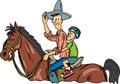 Cowboy Rides Royalty Free Stock Photo