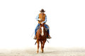 A cowboy riding his horse, isolated white backgrou Royalty Free Stock Photo