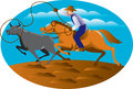 Cowboy Riding Horse Lasso Bull Cow Royalty Free Stock Photo