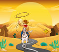 A cowboy riding on a horse travelling through the desert illustration of Royalty Free Stock Image