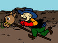 Cowboy riding toy horse in the desert a cartoon character man playing ride a wooden Stock Photo