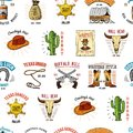 Cowboy seamless pattern. Wild west, rodeo or indians with lasso. hat and gun, sheriff star, boot with horseshoe Royalty Free Stock Photo