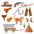 Cowboy set collection of isolated accessories Royalty Free Stock Images