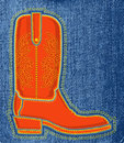 Cowboy shoe on blue jeans background.Vector boot s Royalty Free Stock Photo